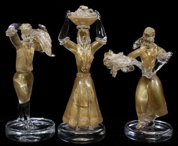 ITALIAN MURANO STYLE GLASS FIGURES, THREE,