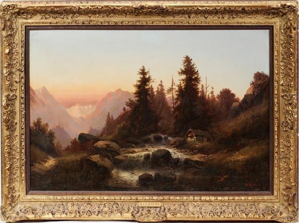 """102018: H. LEHNERT, OIL ON CANVAS, 21"""" X 31"""", SUNSET"""