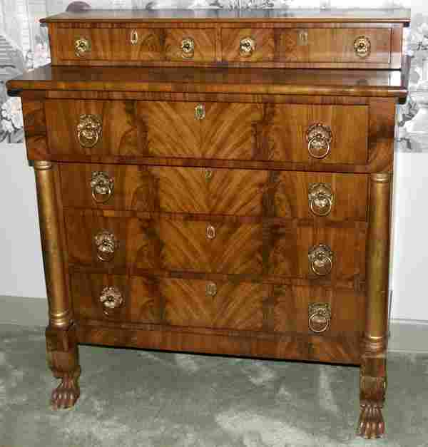 102258: AMERICAN EMPIRE MAHOGANY CHEST OF DRAWERS,
