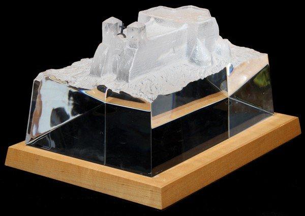 110006: STEUBEN GLASS SCULPTURE, 'ADOBE LANDMARK',