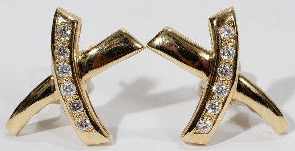 """110013: 1.05 CT. DIAMOND 'X' EARRINGS, L 1 1/4"""""""