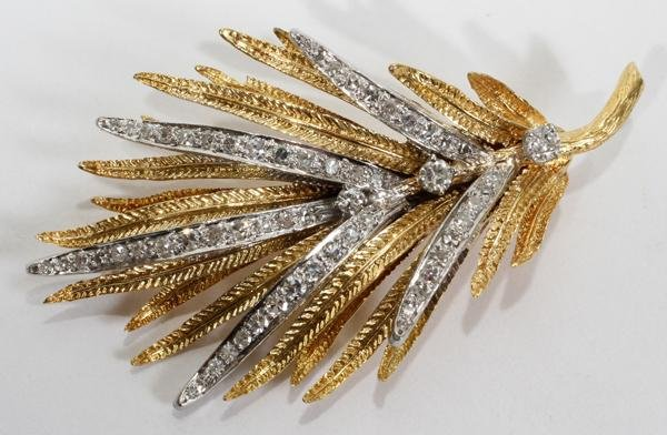 """110018: 18KT YELLOW GOLD AND PLATINUM, BROOCH L 2"""""""