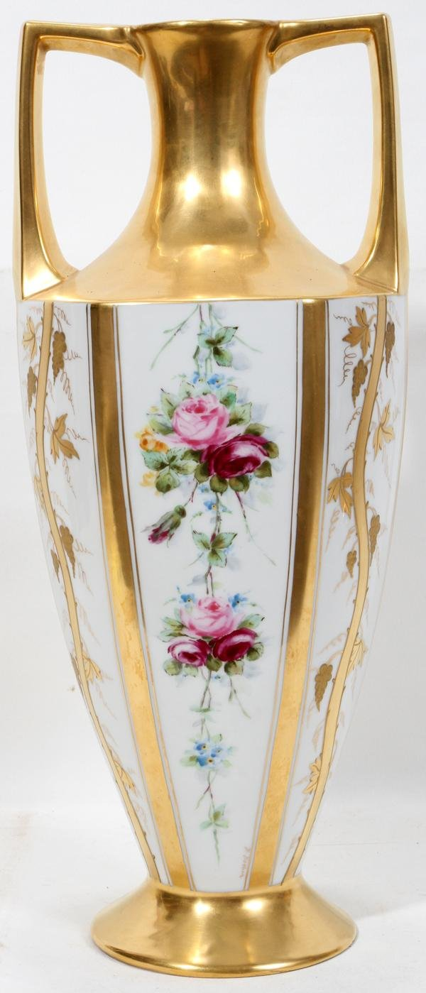 111014: PICKARD CHINA CO. HAND PAINTED PORCELAIN VASE,