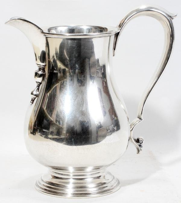111020: STERLING WATER PITCHER, H 9 1/2""
