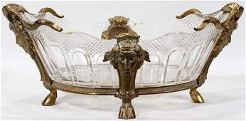 111022 FRENCH CRYSTAL  BRONZE CENTERPIECE BOWL H 7