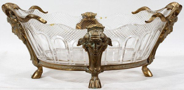 111022: FRENCH CRYSTAL & BRONZE CENTERPIECE BOWL, H 7""