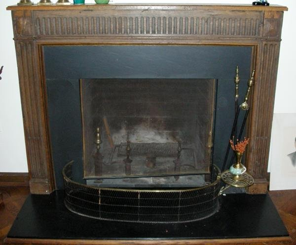 "111024: FRENCH OAK FIREPLACE MANTEL, ANTIQUE, H 45"","