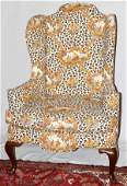 111291 LEOPARD PRINT WING BACK ARM CHAIR