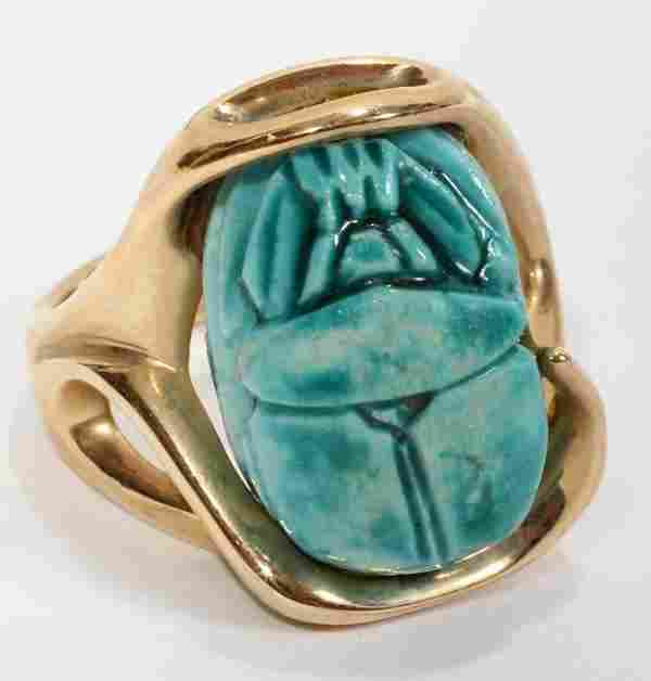 111549: 14KT YELLOW GOLD RING SET W/BLUE CERAMIC SCARAB