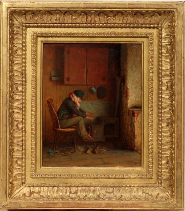 """112015: EASTMAN JOHNSON, OIL ON BOARD, 1861, 10 1/4"""" X"""