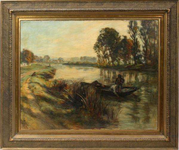 112019: LEON AUGUSTIN LHERMITTE, OIL ON CANVAS, 1902,