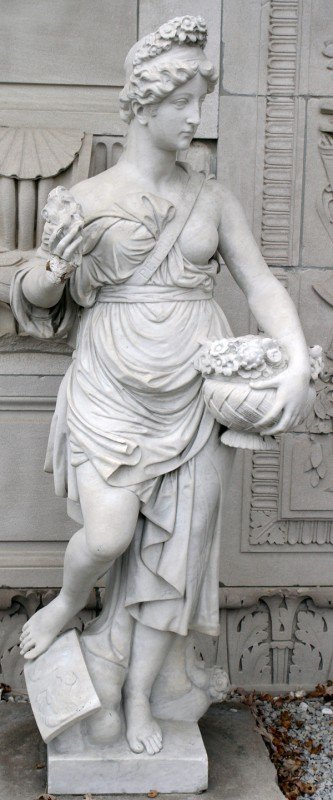 120001: CARVED MARBLE ALLEGORICAL SCULPTURE, H. 81""