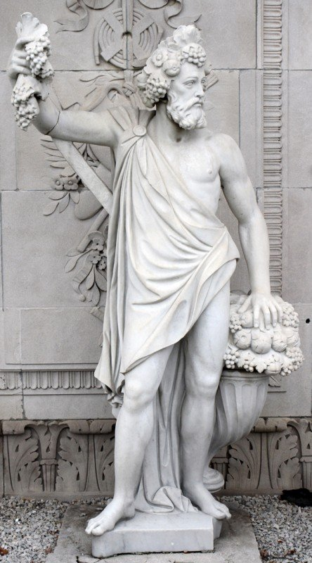 120002: CARVED MARBLE ALLEGORICAL SCULPTURE, H. 82""