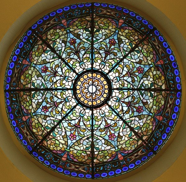 "120005: LEADED STAINED GLASS DOME, H 30"", DIA 84"","