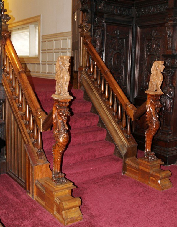 "120011: CARVED OAK STAIRCASE, H 104"", L 64"","