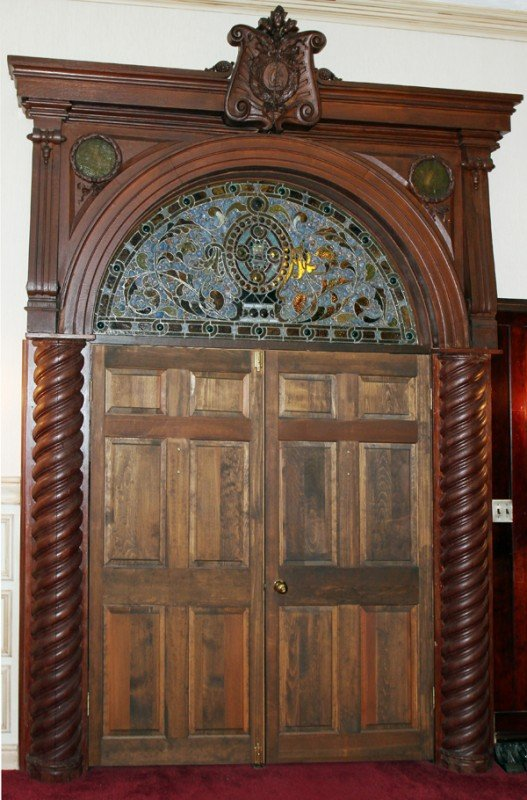 "120012: CARVED OAK & LEADED GLASS ARCHWAY, H 11' 8"","