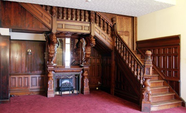 120013: CARVED MAHOGANY DRAGON FIREPLACE & STAIRCASE