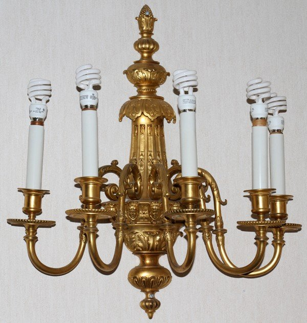 120017: D'ORE BRONZE FIVE-LIGHT SCONCES, SET OF SEVEN,