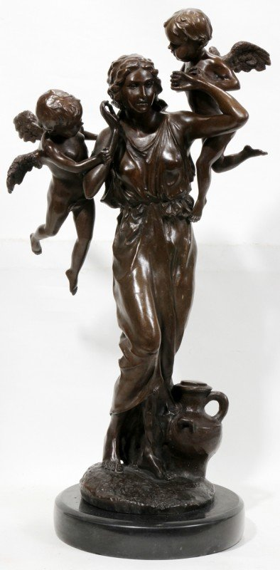 "120025: BRONZE SCULPTURE, H 23"", W 12"", WOMAN & CHERUBS"