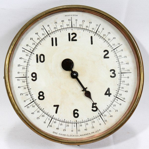120547: ONE-HAND CLOCK CO. BRASS CLOCK, DIA 7""