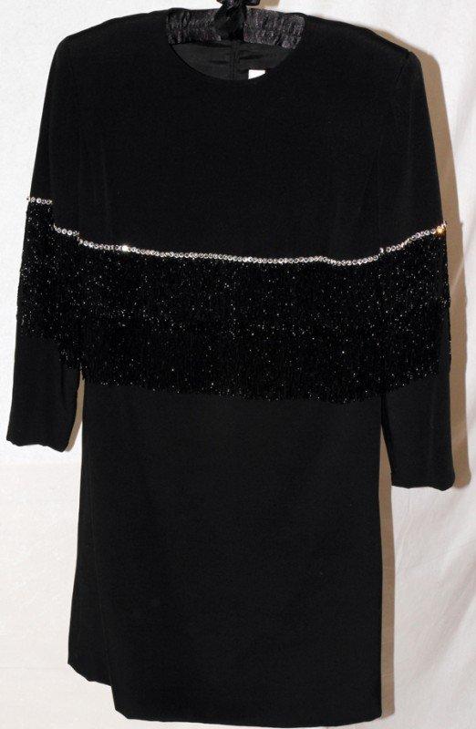 121264: MICHAEL NOVARESE BLACK DRESS WITH BEADED FRINGE