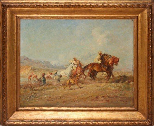 122004: HENRI EMILIEN ROUSSEAU, OIL ON WOOD PANEL, 1907