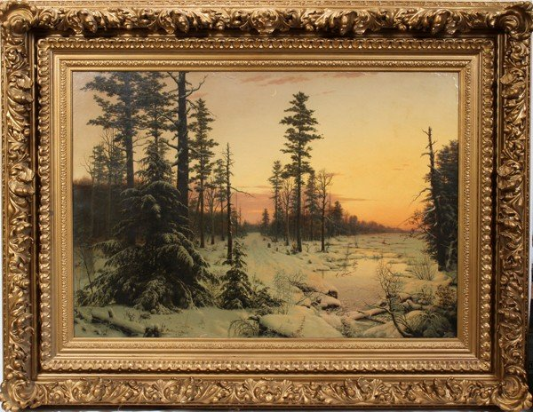 122014: MORTIMER L. SMITH OIL ON CANVAS LUMINIST WINTER