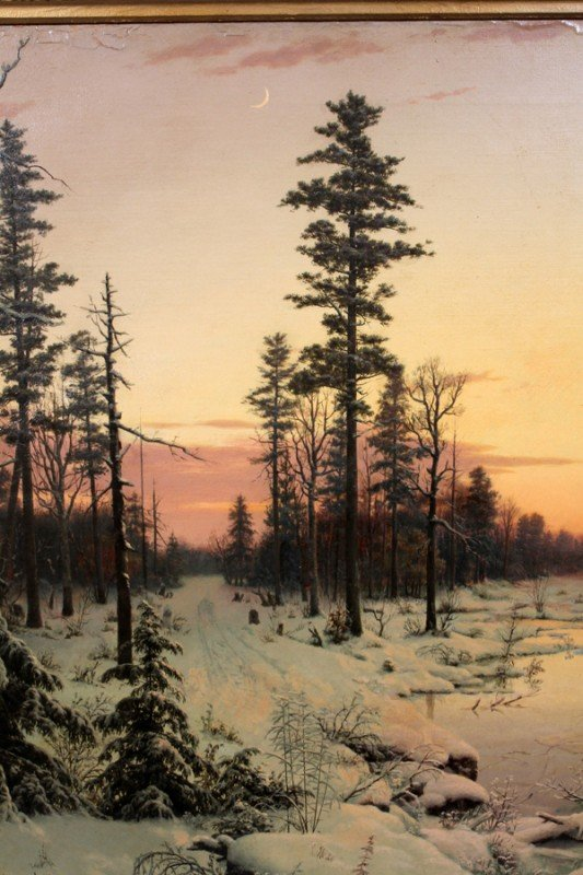 122014: MORTIMER L. SMITH OIL ON CANVAS LUMINIST WINTER - 2