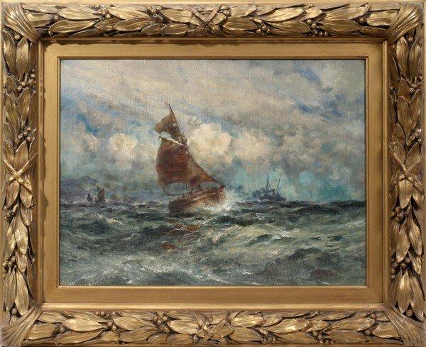"122017: ROBERT HOPKIN, OIL ON CANVAS, ""SHIP SEASCAPE"","