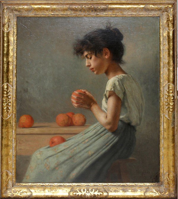 """122020: PERCY IVES, OIL ON CANVAS, 1895, 32"""" X 26"""":"""