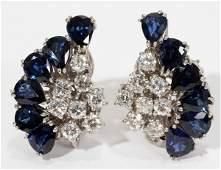 122129 18KT WHITE GOLD SAPPHIRE  DIAMOND EARRINGS