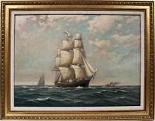 122209 CMYRON CLARK OIL ON BOARD CLIPPER SHIP 16