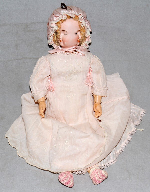 010003: CARL BERGNER BISQUE THREE-FACE DOLL, C. 1900,