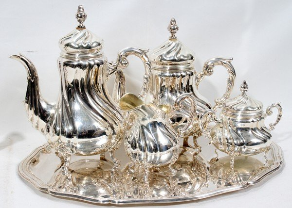 010014: SILVER COFFEE & TEA SERVICE,STERLING CANDELABRA