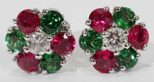 010019: NATURAL RUBY, TSAVORITE & DIAMOND EARRINGS