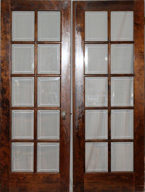 010221: WALNUT & BEVELED GLASS FRENCH DOORS, C. 1920