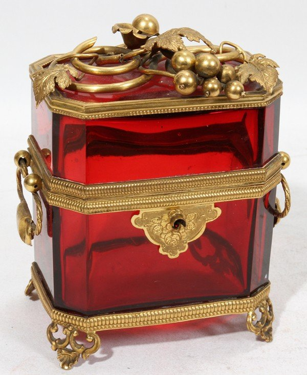 """010268: FRENCH RUBY GLASS AND BRONZE CURIO BOX, H 5"""","""