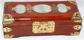 010498 CHINESE JADE  WOOD BOX H 3 L 10 D 4