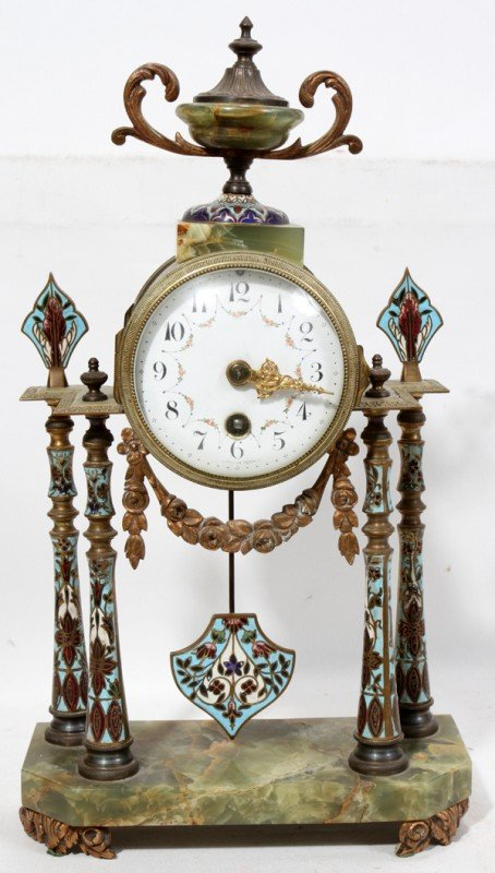 011008: JAPY, FRENCH CHAMPLEVE & BRONZE MANTEL CLOCK,