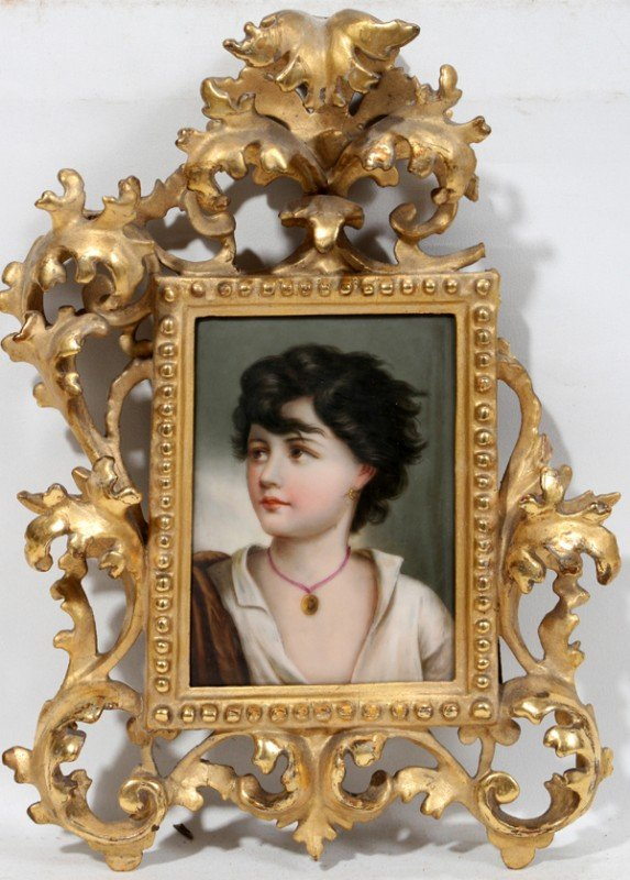 011020: GERMAN PAINTING ON PORCELAIN, C. 1900, 5 3/4""
