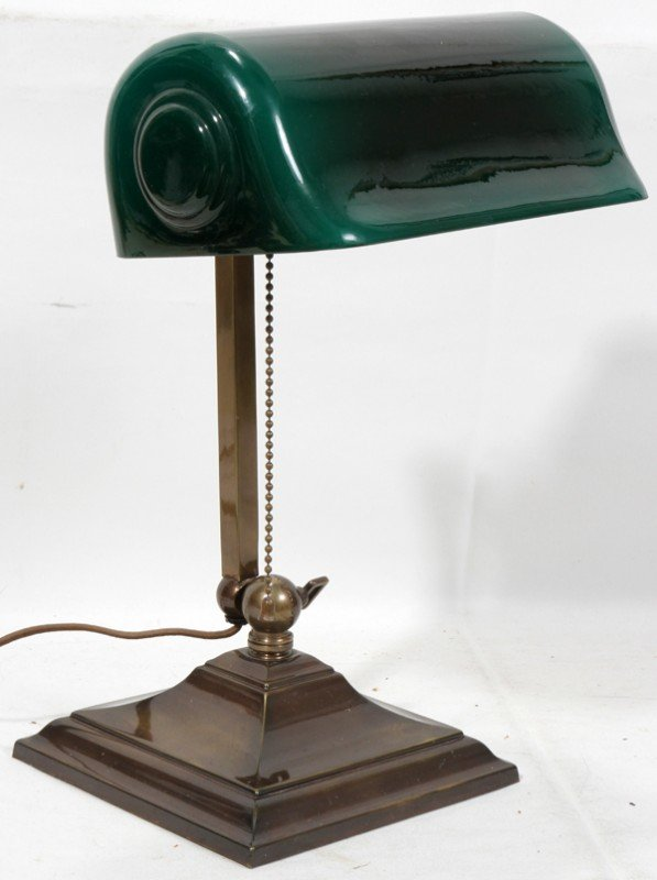 "011464: BANKER'S LAMP GREEN EMERALITE SHADE, H 14"","