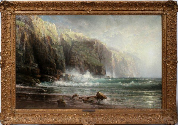 012007: WILLIAM TROST RICHARDS, OIL ON CANVAS, 1887,