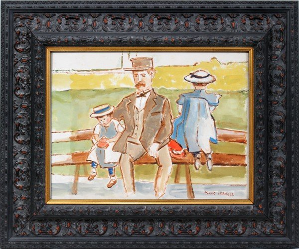 "012011: ISAAC ISRAELS WATERCOLOR, 12"" X 16"", GENTLEMAN"
