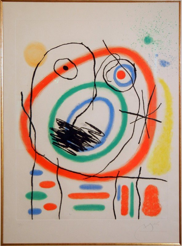 "012020: JOAN MIRO, ETCHING & AQUATINT, 1965, 26"" X 21"""