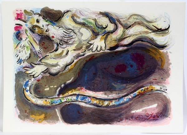 "012024: MARC CHAGALL, COLOR LITHOGRAPH, 17 3/4"" X 13"""