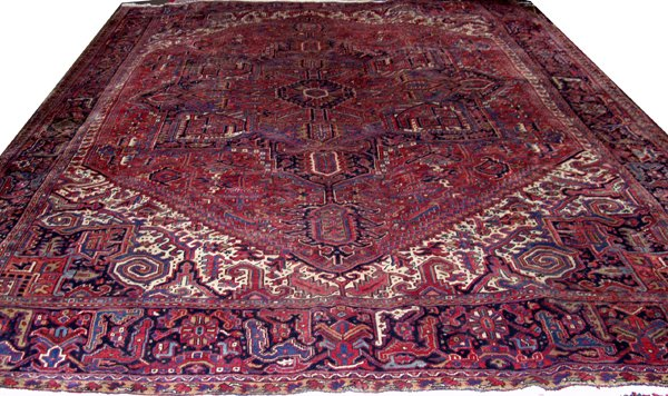 "060008: HERIZ PERSIAN WOOL CARPET 10' 4"" X 13' 2"""