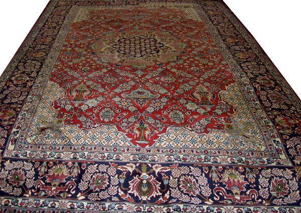 "060012: ISFAHAN PERSIAN WOOL CARPET 9' 6"" X 14'"