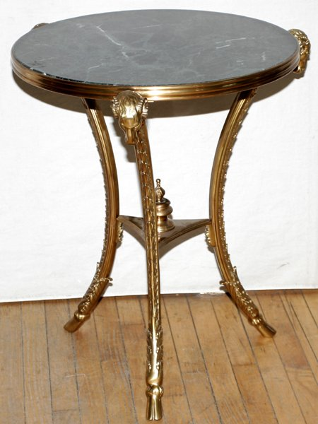 061010: FRENCH EMPIRE STYLE BRONZE & MARBLE TABLE