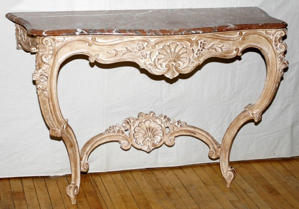 061014: FRENCH LOUIS XV STYLE CONSOLE W/ MARBLE TOP