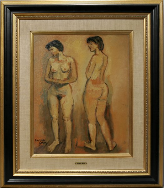 062003: RAPHAEL SOYER, OIL ON BOARD, FEMALE NUDES